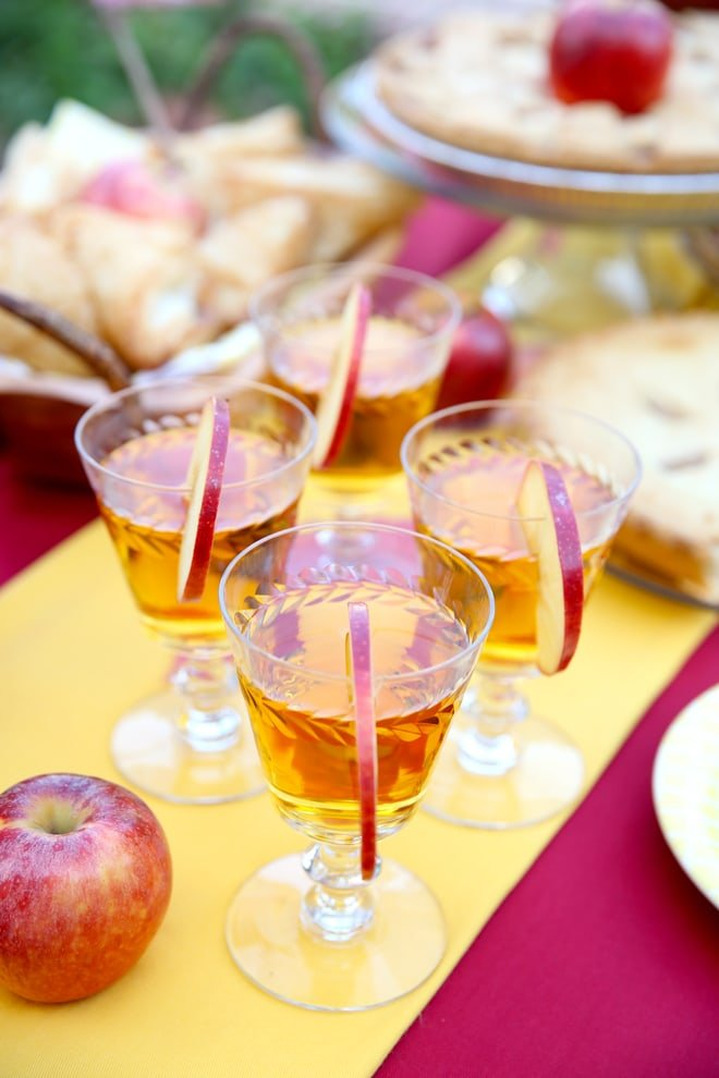 Apple rimmed drinks for a fall-themed apple party!