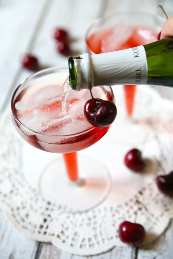 Delicious Cherry Mimosas from Pizzazzerie.com