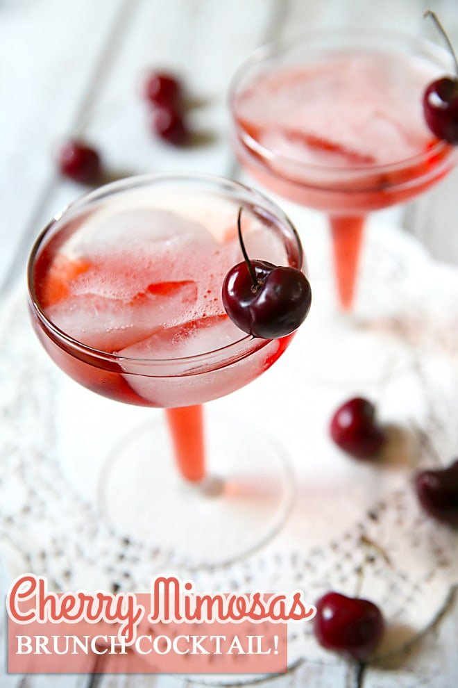 Cherry Mimosas: The Perfect Brunch Cocktail Pizzazzerie.com #Pizzazzerie