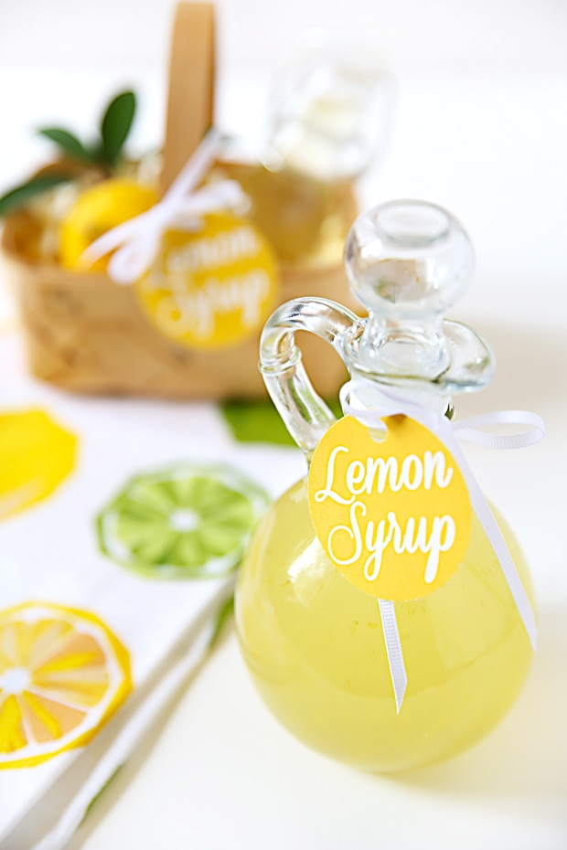 DIY Lemon Syrup Recipe and cute free printable gift tag included!