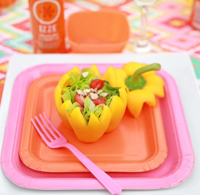 Cut a pepper and hollow out to make a cute individual salad bowl! Pizzazzerie.com
