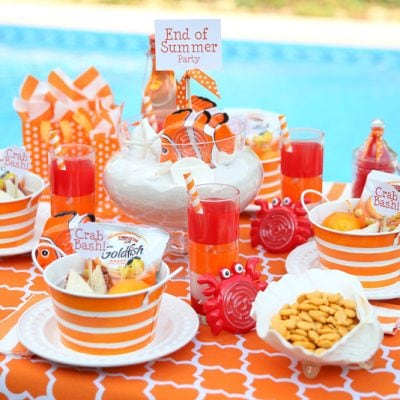 Super cute orange kids' crab bash party!