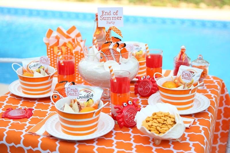 Super cute orange kids' crab bash party!