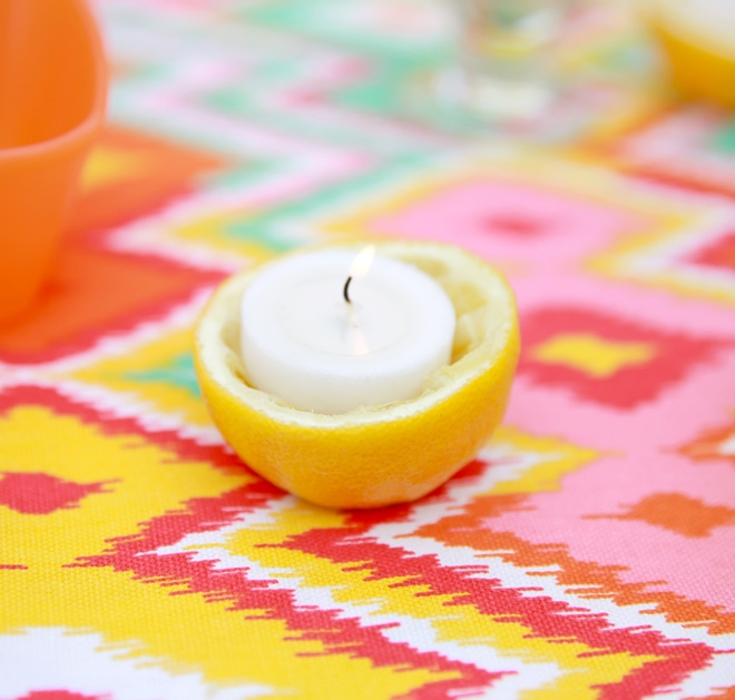 Quick and easy DIY for making homemade lemon votive candle holders! Pizzazzerie.com