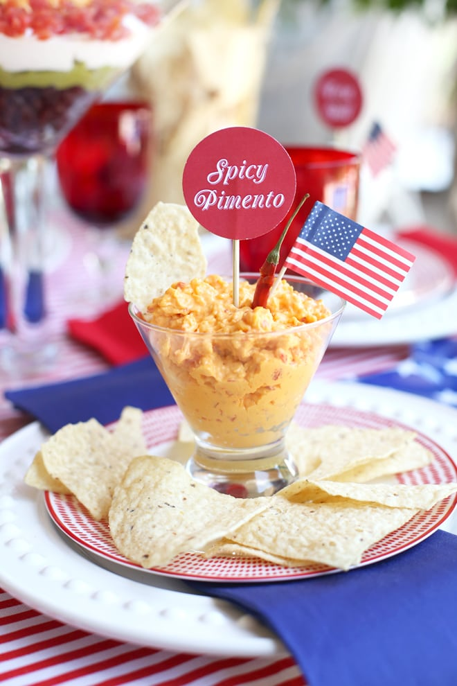 Spicy Pimento Dip for a Labor Day Party! #TostitosLaborDay
