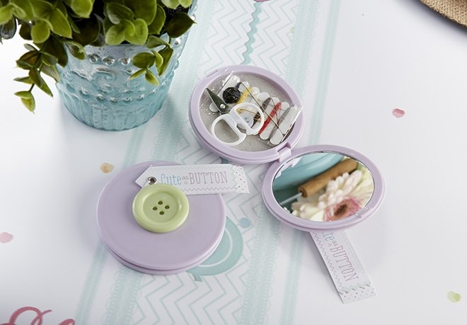 button themed sewing kits as favor at baby shower