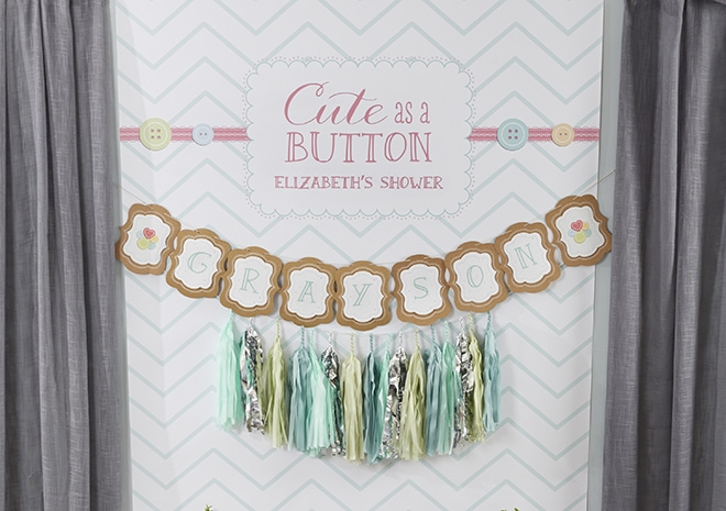 Baby Shower Party Backdrop - Cute as a button shower!