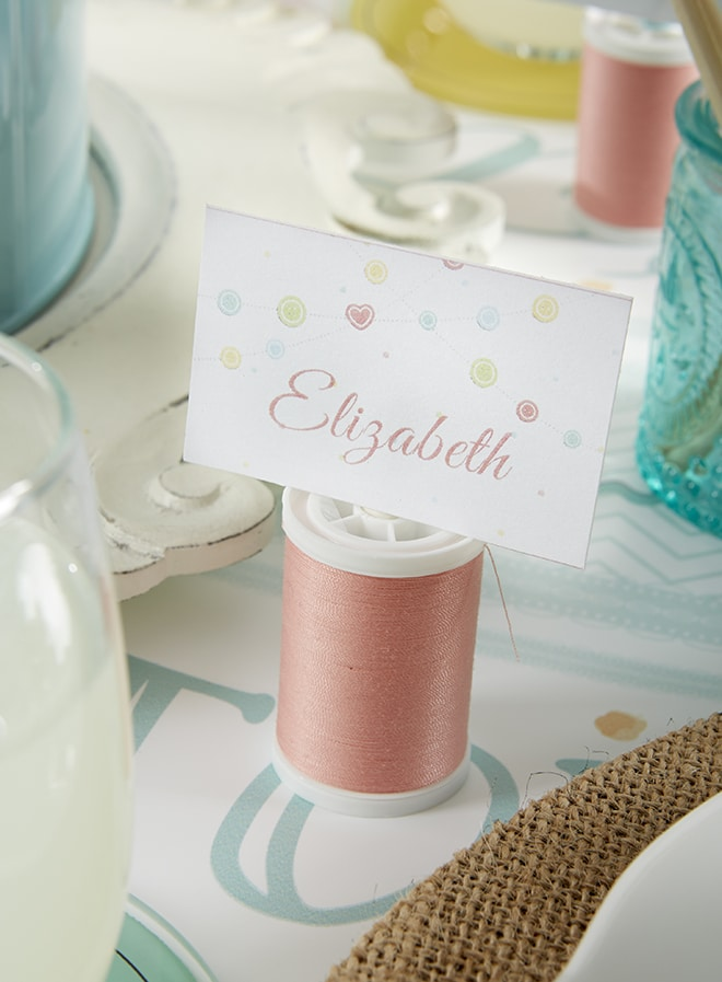 Sewing Themed Place Card a a Cute as a Button Baby Shower