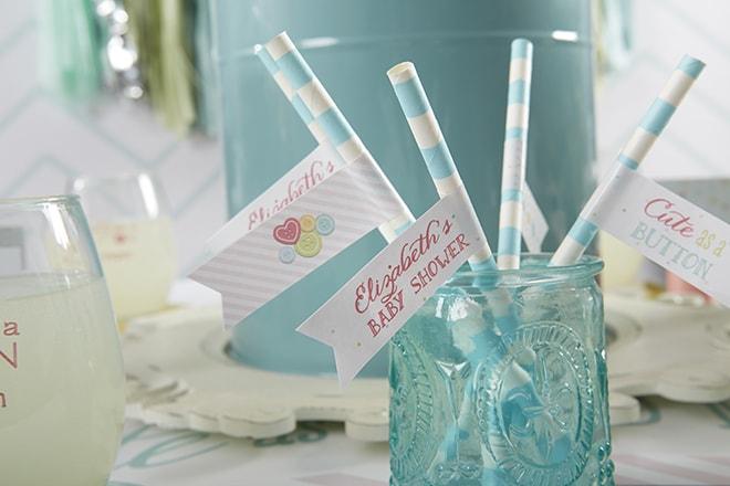 Cute as a Button Paper Straws
