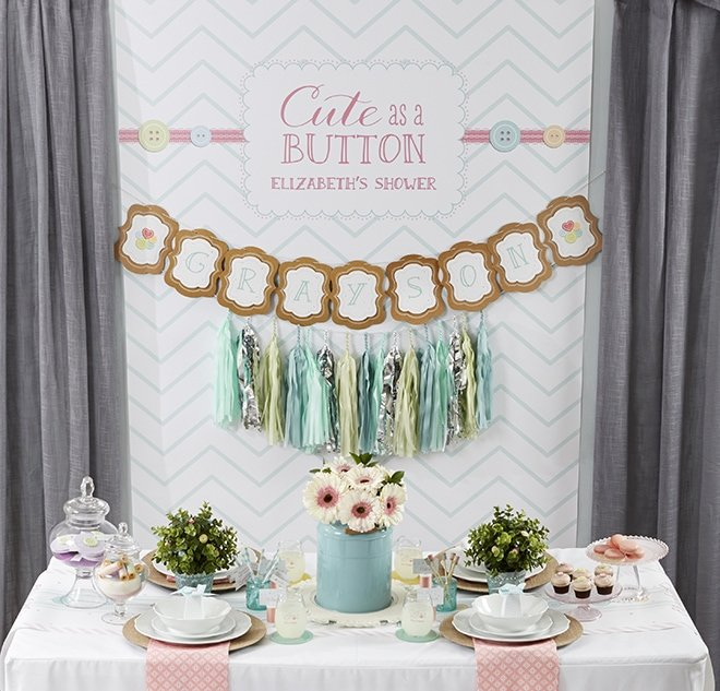 CUTE as a BUTTON Baby Shower Ideas! Love these!