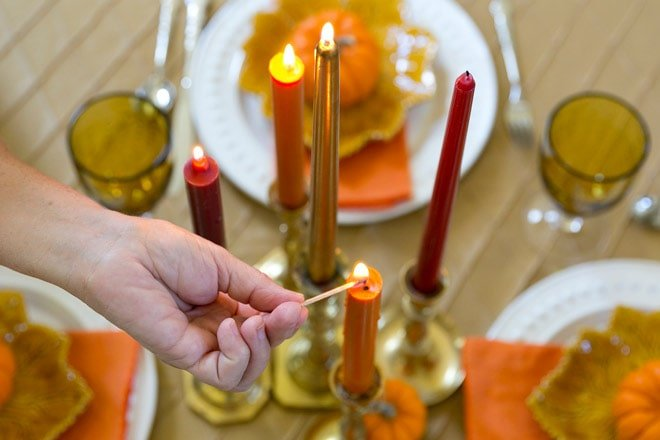 Candles provide the perfect ambiance and an easy centerpiece!
