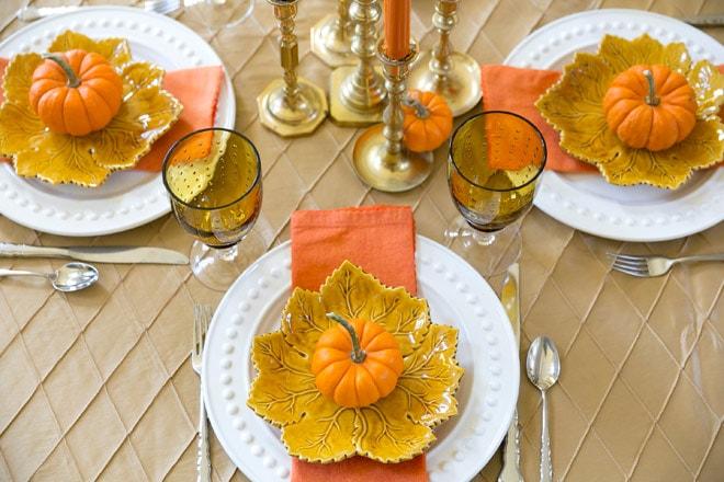 Fall Pumpkin Tablescape by Party Blogger Pizzazzerie.com