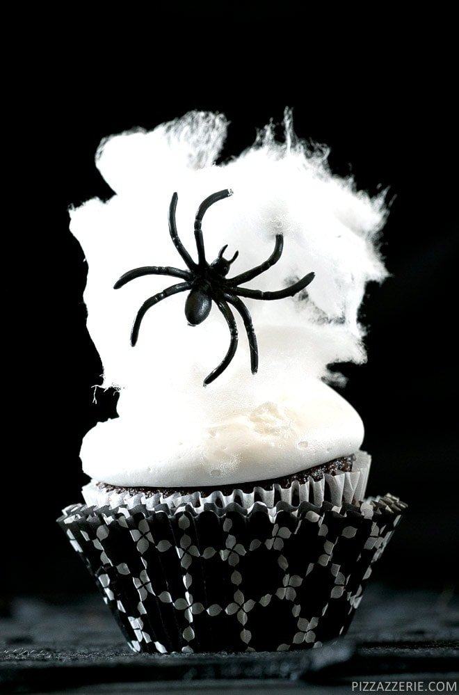 How to make Spider Web Cupcakes for Halloween with cotton candy! Pizzazzerie.com