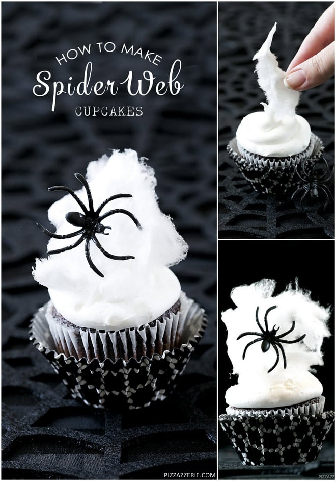 How to make cute spider web cupcakes with cotton candy! Pizzazzerie.com