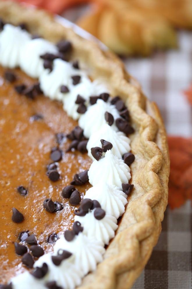 Decadent pumpkin pie with chocolate chips!