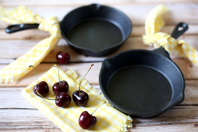 You can bake cherry cobblers right inside mini cast iron pans!! Pizzazzerie.com