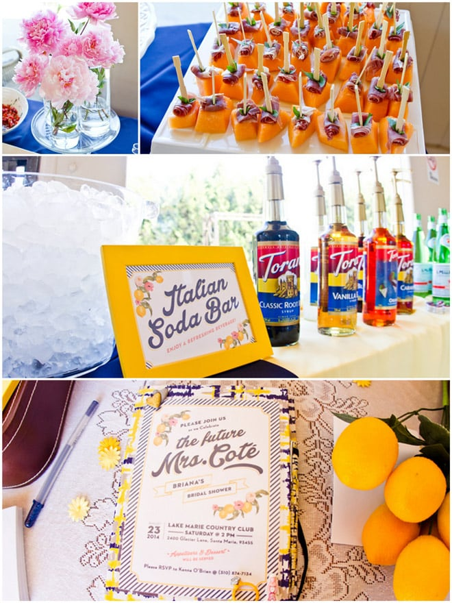 Adorable preppy lemon bridal shower!