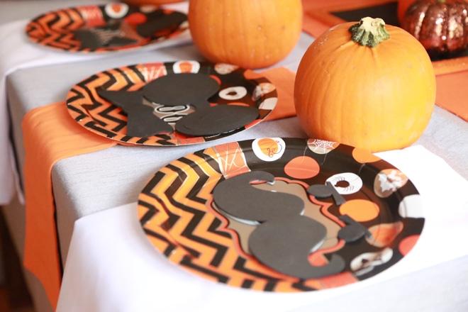 Cute Orange and Black Halloween Place Setting