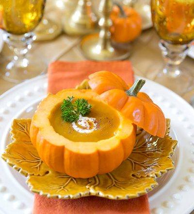 Pumpkin Bisque in a Pumpkin Shell | Pizzazzerie.com
