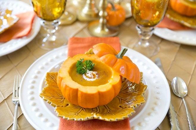 Pumpkin Bisque in a Pumpkin Shell