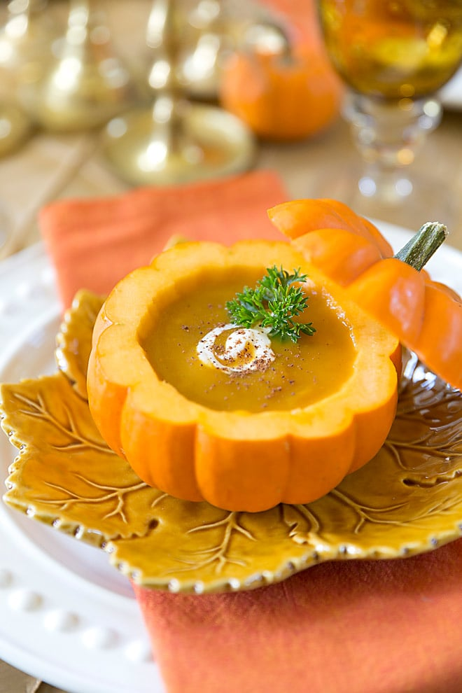 LOVE this for fall! Pumpkin Bisque in a Pumpkin Shell, super to easy to make and really WOWs! This bisque is a family favorite! Pizzazzerie.com