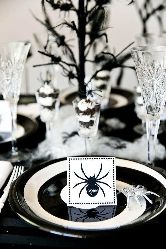 chic black white spider dinner party pizzazzerie. Black Bedroom Furniture Sets. Home Design Ideas