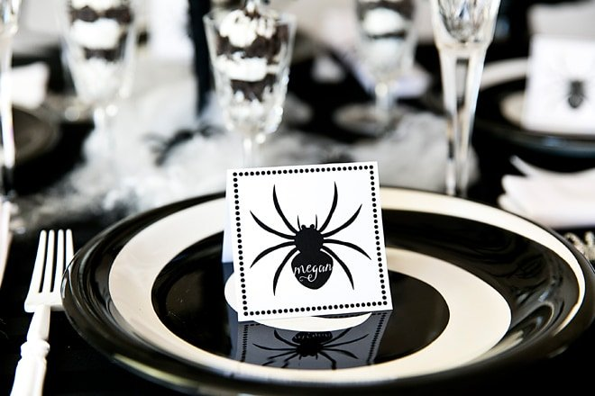 Chic Black & White Spider Dinner Party