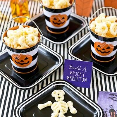 """Adorable 'Build Your own Skeleton"""" Party using CHEETOS! #cheetoshalloween"""