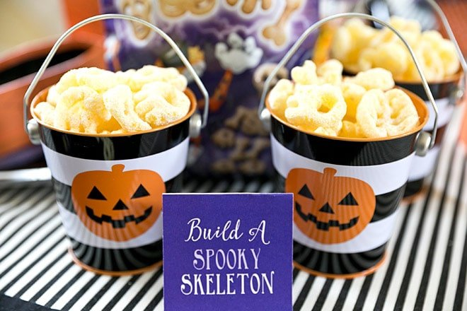 I'm excited to get creative with CHEETOS® Bag of Bones Snacks. Each spooktacular bag is filled with  four skeleton-shaped Cheetos treats. Not only are these white cheddar snacks delightfully delicious,   they're also scary fun to decorate with – skulls ribcages, bones and paws – wonder what spooky   creations we can come up with!