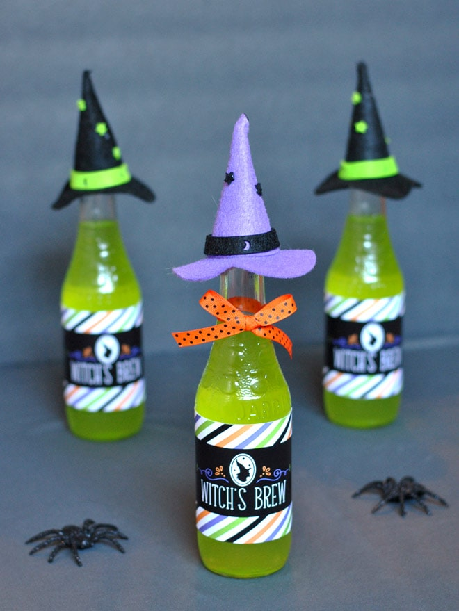 Witch Hats on Bottles for Halloween! Pizzazzerie.com