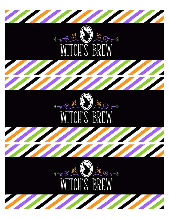 Free Printable Halloween Witch's Brew Drink Labels! Pizzazzerie.com