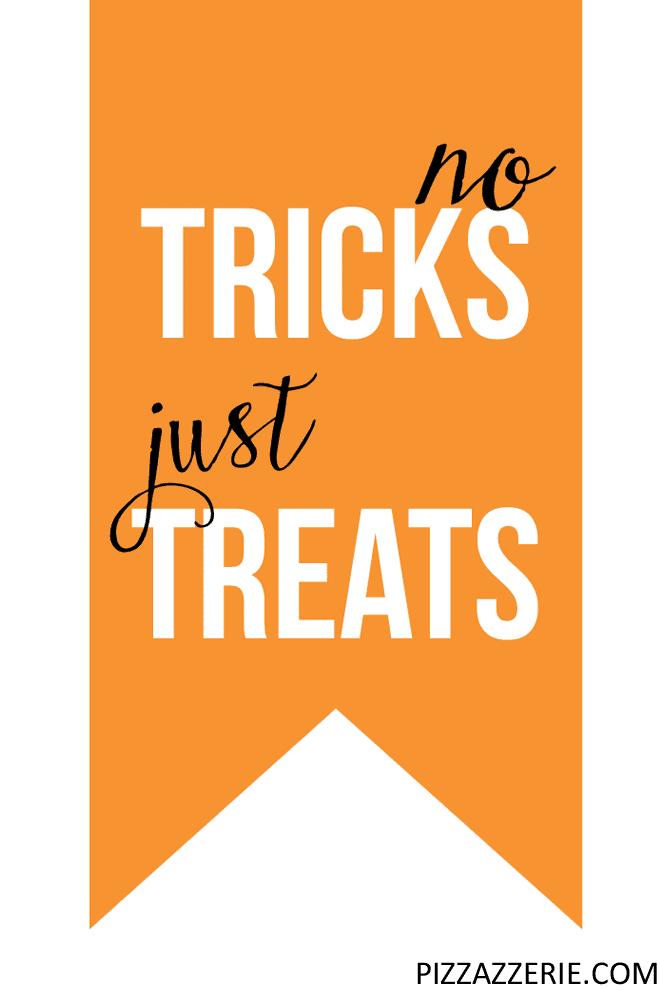 """No Tricks Just Treats"" Free Printable Halloween Gift Tag"