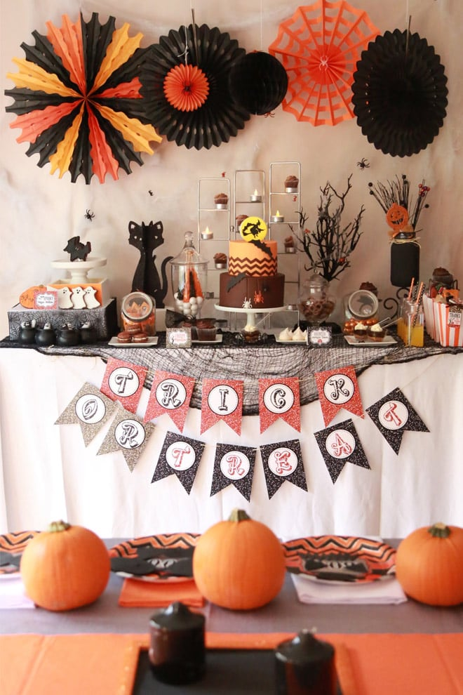 "Love this Halloween Party, it had a ""chocolate bar"" for kids and such cute easy ideas!"