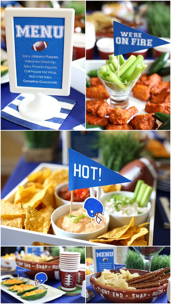 """""""We're on FIRE"""" & """"We're HOT"""" themed Football Viewing Party! Tons of spicy football food + fun! Pizzazzerie.com"""