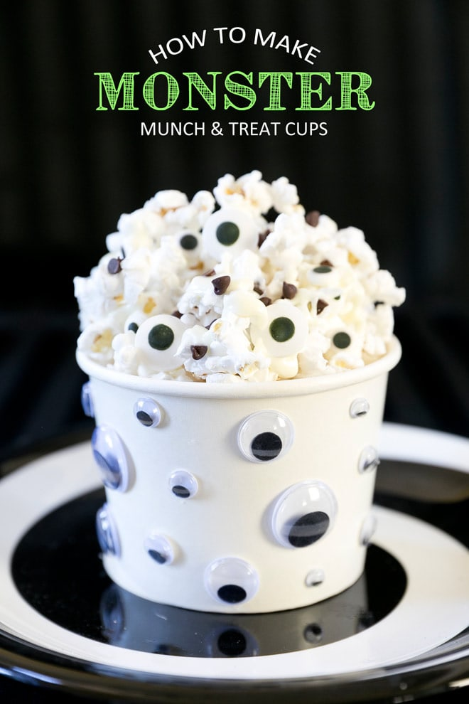 Absolutely the cutest and easiest way to jazz up popcorn for Halloween, especially for watching Halloween Movies! Monster Munch Recipe!