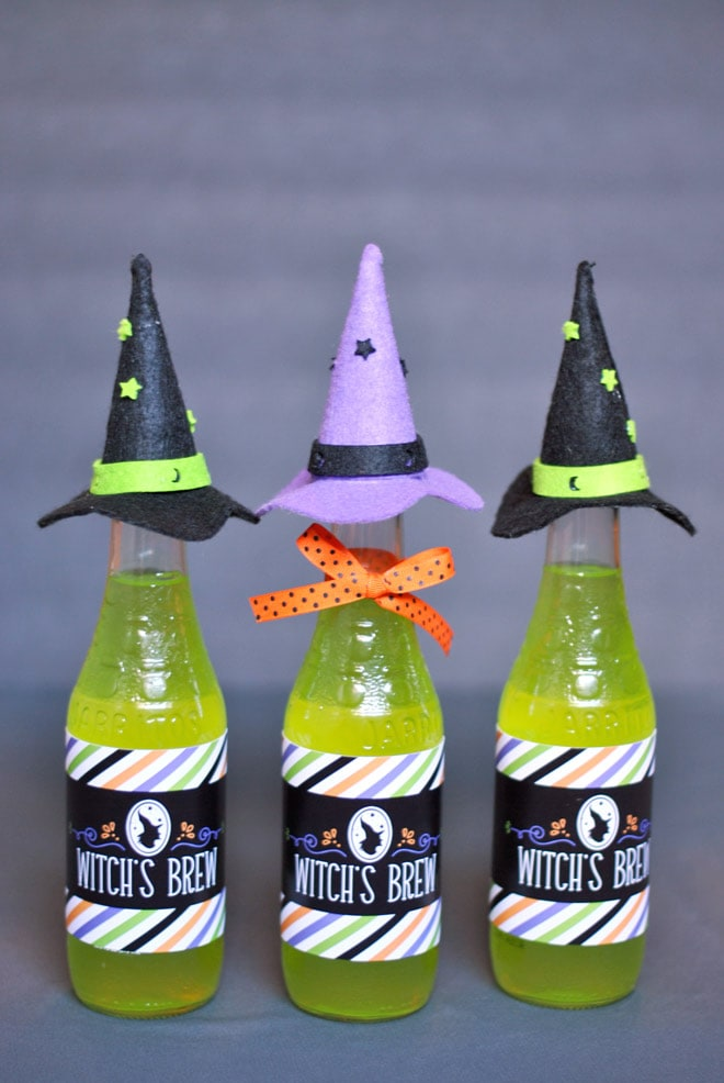 DIY Witch's Brew Bottles for Halloween w/ Freebie! Pizzazzerie.com