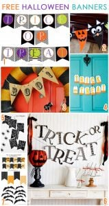 7 CUTE & Free Halloween Printable Banners for decorating your mantel, office, party table, door, etc!