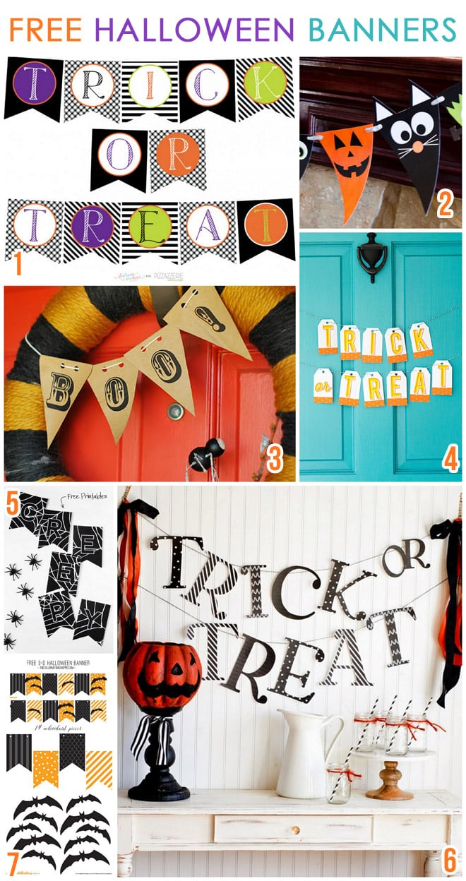 image regarding Halloween Banner Printable referred to as 7 Absolutely free Printable Halloween Banners Pizzazzerie