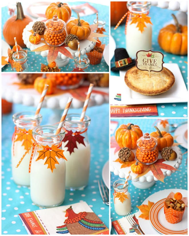 Aqua + Orange Kids Table for Thanksgiving! Fun tips and ideas from Pizzazzerie.com