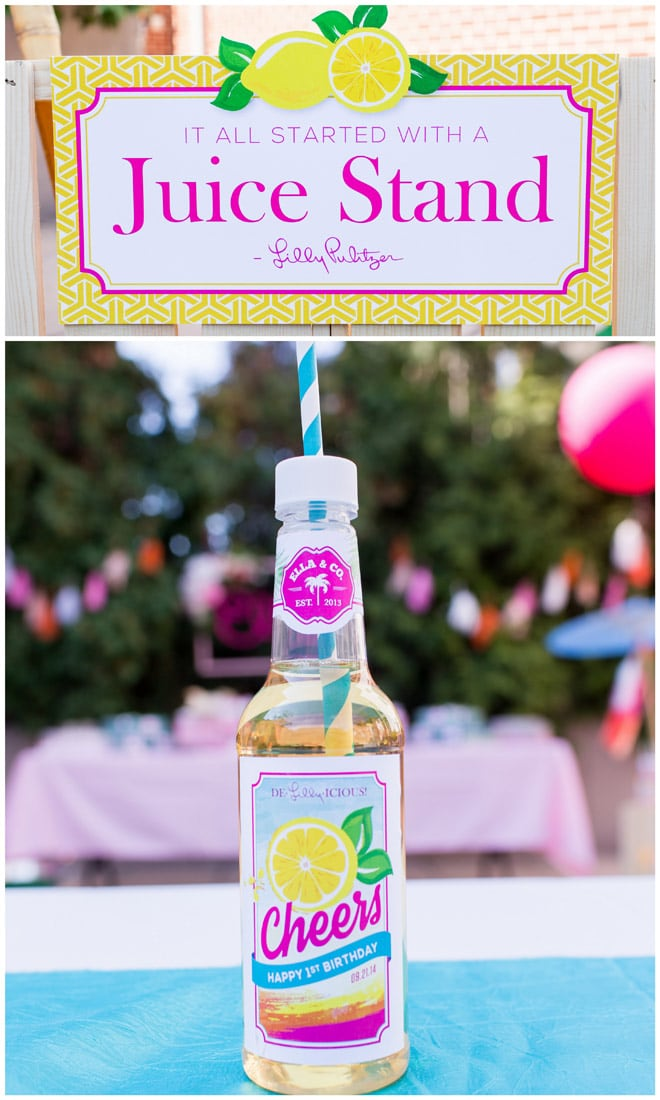 A juice stand for a party! Lilly Pulitzer Inspired