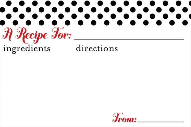 Free Printable Recipe Card for the Holidays! Great for Cookie Exchange Parties