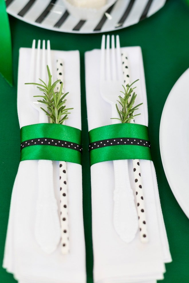 Rosemary sprigs add the perfect aroma to any holiday party tablescape! Pizzazzerie.com