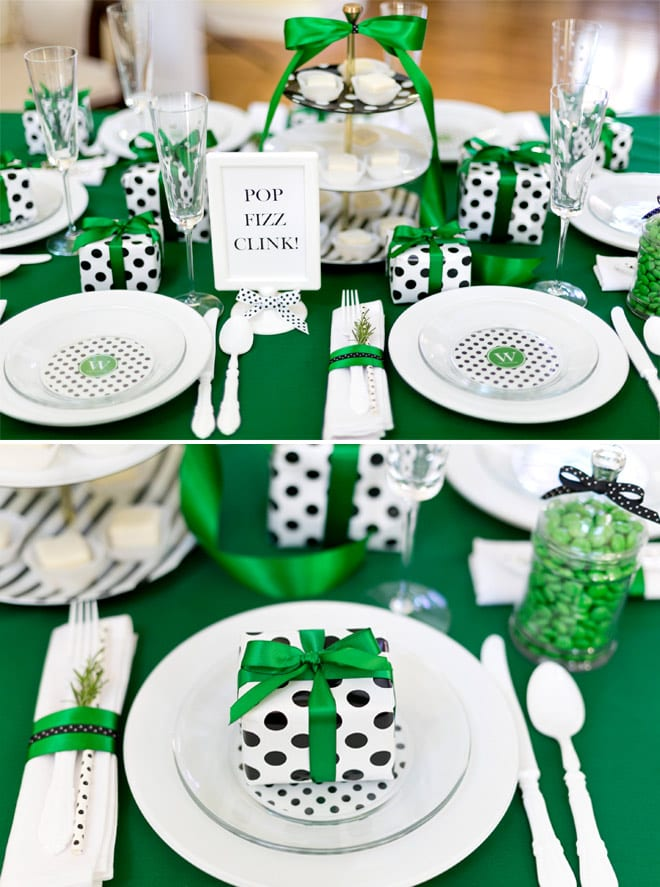 Cute Kate Spade Inspired Holiday Party Table for Christmas ideas! Pizzazzerie.com