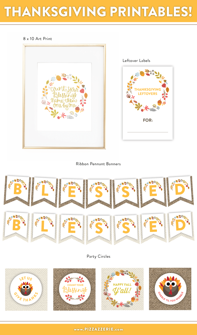 Free Thanksgiving Printables ( Banners, 8x10 Art Print, etc!)