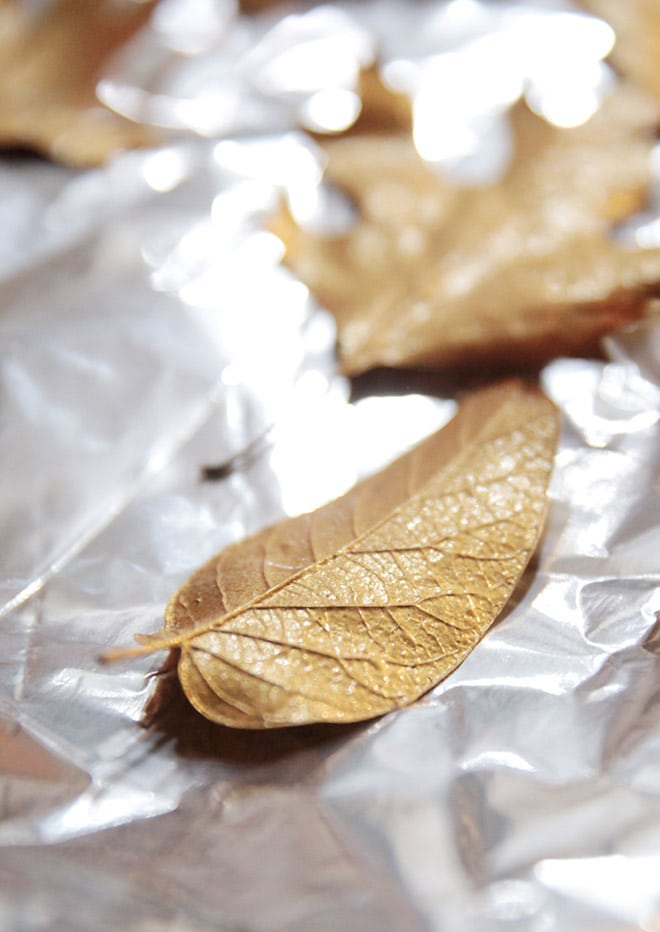 how to paint leaves gold | tutorial
