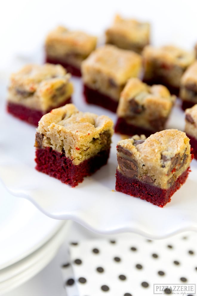 Red Velvet Chocolate Chip Cookie Bars from Pizzazzerie.com - SO good!