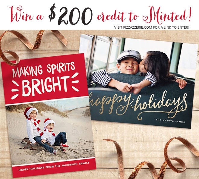 Win $200 credit to Minted for holiday cards on pizzazzerie.com!
