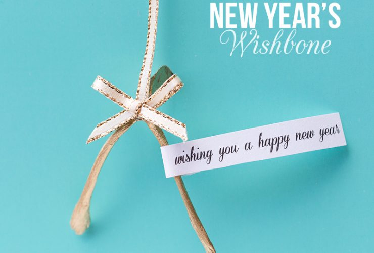 Gold Wishbone New Year's Eve Favors