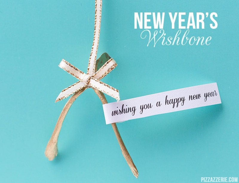 Gold New Year's Wishbone Favor Idea! Pizzazzerie.com