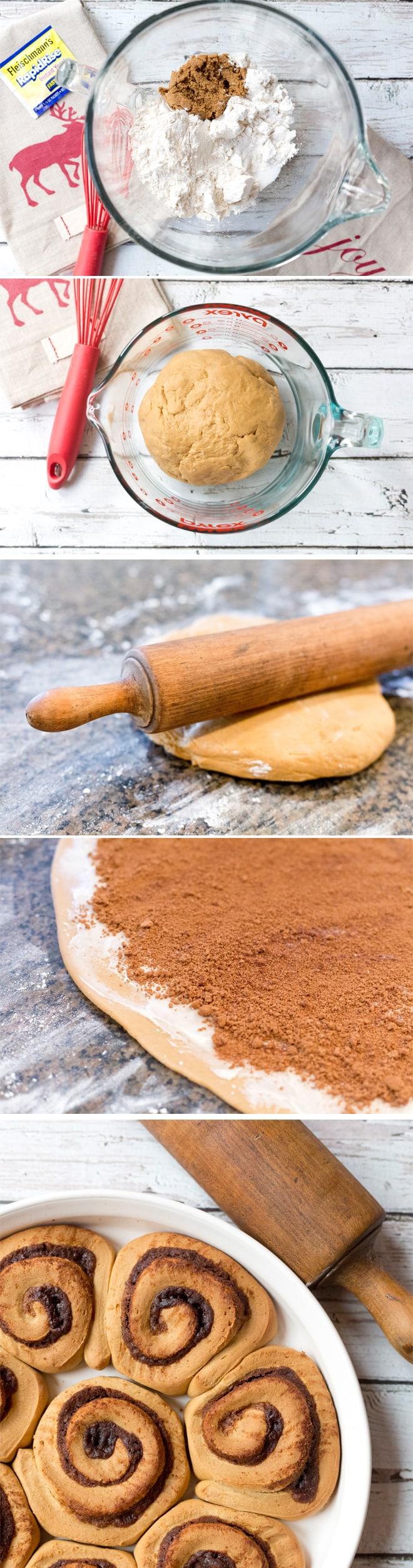 Easiest cinnamon roll recipe with a gingerbread twist! LOVE IT!